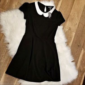 Black Peterpan Wednesday Addams style dress